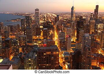 céntrico, estados unidos de américa, chicago, /, alto, sobre...