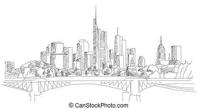 céntrico, fráncfort, contorno, principal, rascacielos, puente