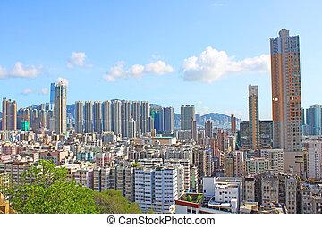 céntrico, hong kong, edificios, atestado