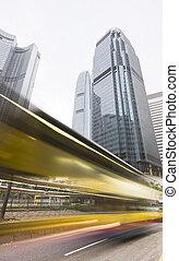 céntrico, hongkong, por, tráfico