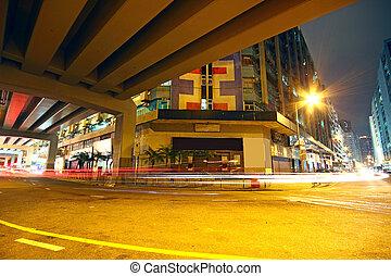 céntrico, hongkong, tráfico, noche, área