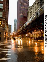 céntrico, lluvia, chicago