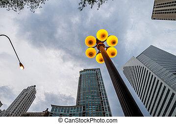 céntrico, luces, calle, chicago