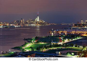 céntrico,  Manhattan, noche