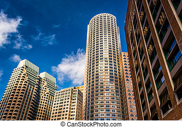 céntrico, massachusetts., rascacielos, boston