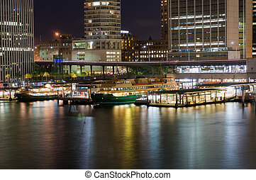 céntrico, muelle, transbordador, rascacielos, estación, circular, ferrocarril