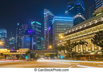 céntrico, núcleo, tráfico, camino, singapur