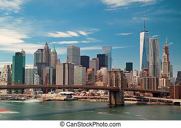 céntrico, puente, brooklyn, manhattan