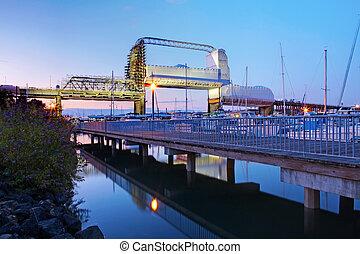 céntrico, puente, harbor., viejo, tacoma.