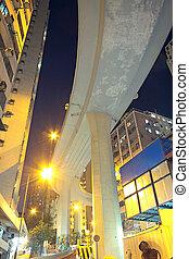 céntrico, puente, tráfico, más alto
