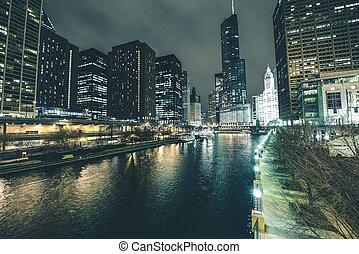 céntrico, río, chicago