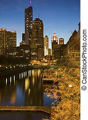 céntrico, rascacielos, chicago