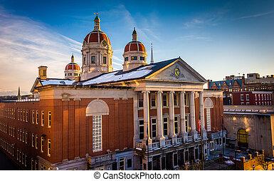 céntrico, tarde, luz, palacio de justicia, pennsylvania., condado, york, york