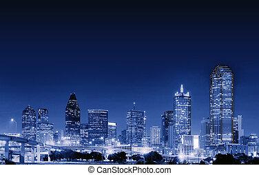 céntrico, tejas, noche, estados unidos de américa, dallas