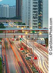 céntrico, tráfico, camino, área