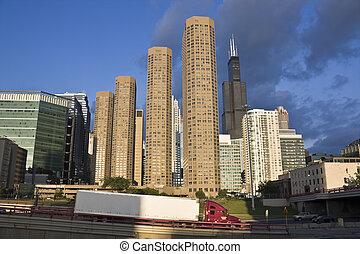 céntrico, tráfico, chicago