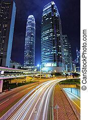 céntrico, tráfico, por, hongkong