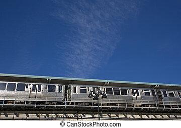 céntrico, tren, chicago