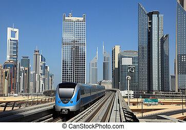 céntrico, unido, metro, árabe, tren, emiratos, dubai
