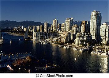 céntrico, vancouver, canadá, skyscrapers-