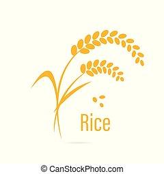 céréale, rice., icône