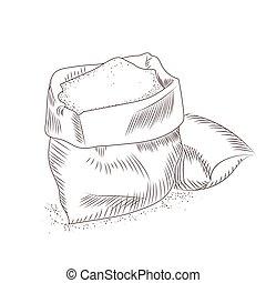 céréales, sac, flour., isolé, sucre, arrière-plan., blanc,...