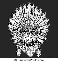 cérémonial, tribal, traditionnel, chaman, chapeau, indien, coiffure, bouledogue, élément, ethnique, dog., boho