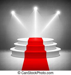 cérémonie, éclairé, récompense, podium, vecteur, étape