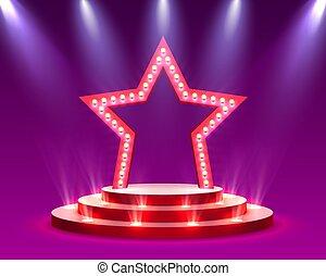 cérémonie, étoile, scène, récompense, éclairage, podium, fond, rouges, étape