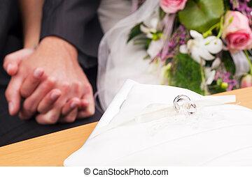 cérémonie, -, anneaux, mariage