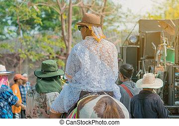 cérémonie, cheval, bouddhiste, rituel, jeune, moine, bande, musique, équitation, thaïlande, thaï, ordination, changement, homme
