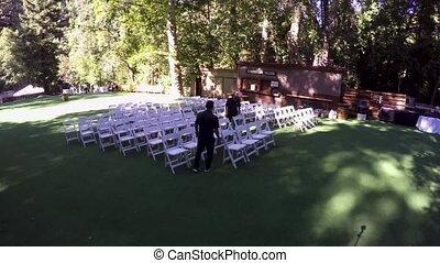 cérémonie, chronocinématographie, pré, préparations, forêt, mariage