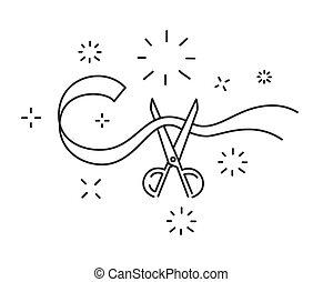 cérémonie, coupure, ouverture, symbole, illustration, vecteur, ciseaux, ligne, ruban, icône