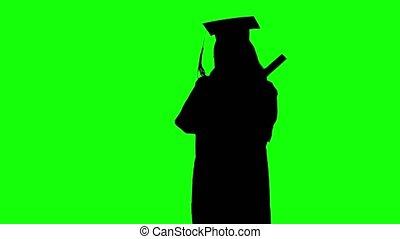 cérémonie, danse, écran, après, adjuger, diplômé, vert, diploma., silhouette.