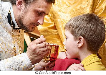 cérémonie, eucharistie, orthodoxe