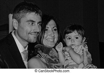 cérémonie, fille, palefrenier, mariée, mariage, pendant