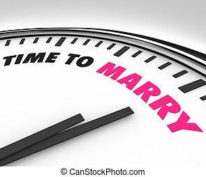 cérémonie, horloge, marier, temps, -, mariage