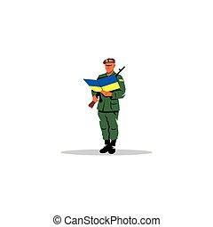 cérémonie, illustration., armée, apporter, signe., ukrainien...