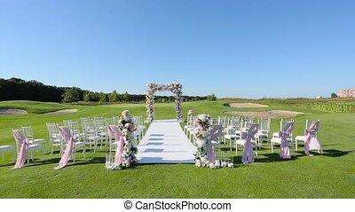 cérémonie, meubles pelouse, mariage