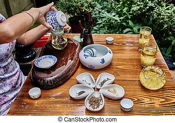 cérémonie, thé, porcelaine, chengdu, sichuan