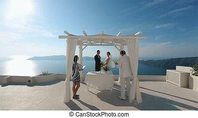 cérémonie, yeux, regard, bouquet, couple, mariés, unique, une, quoique, tenue, mariage, heureux