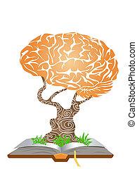 cérebro, árvore, ligado, livro