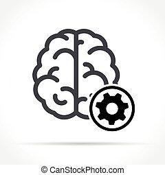 cérebro, branca, engrenagem, fundo, ícone