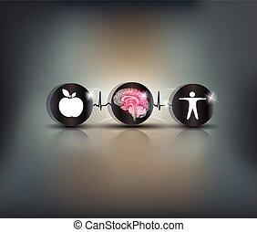 cérebro, brejo, cuidado, símbolo