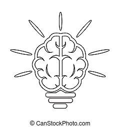 cérebro, bulbo leve, ícone