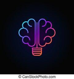 cérebro, bulbo leve, coloridos, ícone