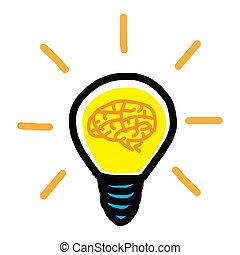 cérebro, bulbo, mão, -, desenhado