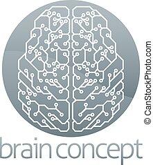 cérebro, círculo, circuito computador