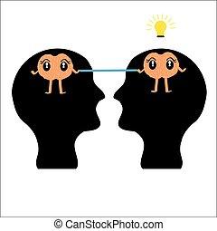 cérebro, cabeça, fundo branco