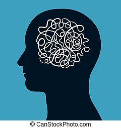 cérebro, cabeça, macho, enrolado